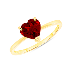 Heart Shape Solitaire Genuine Garnet Gemstone Birthstone Ring in Yellow Gold