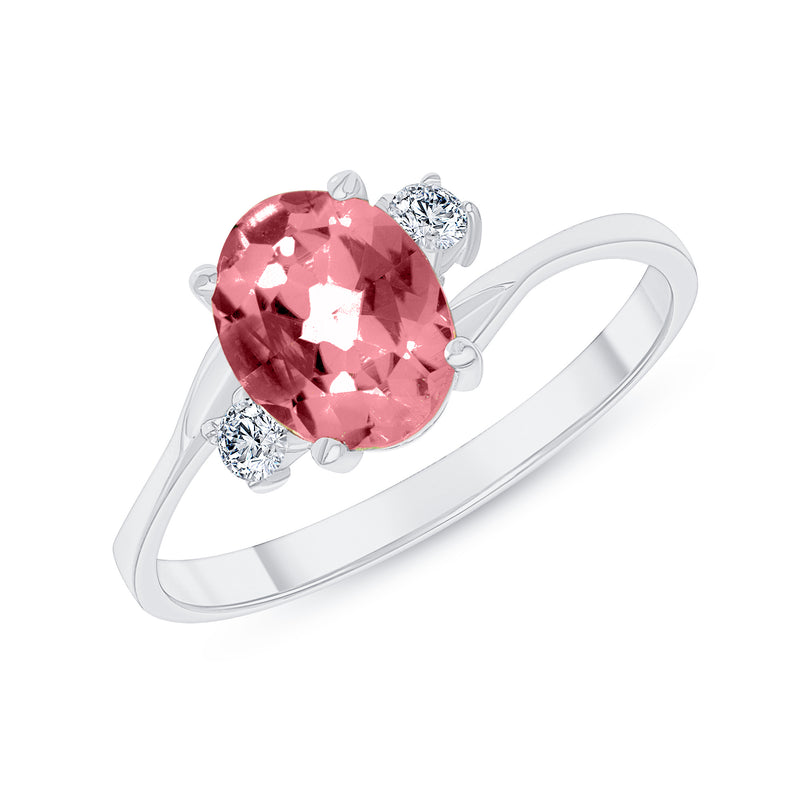 Oval Genuine Garnet Gemstone Ring In White Gold