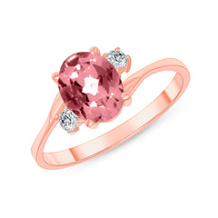 Oval Genuine Garnet Gemstone Ring In Rose Gold