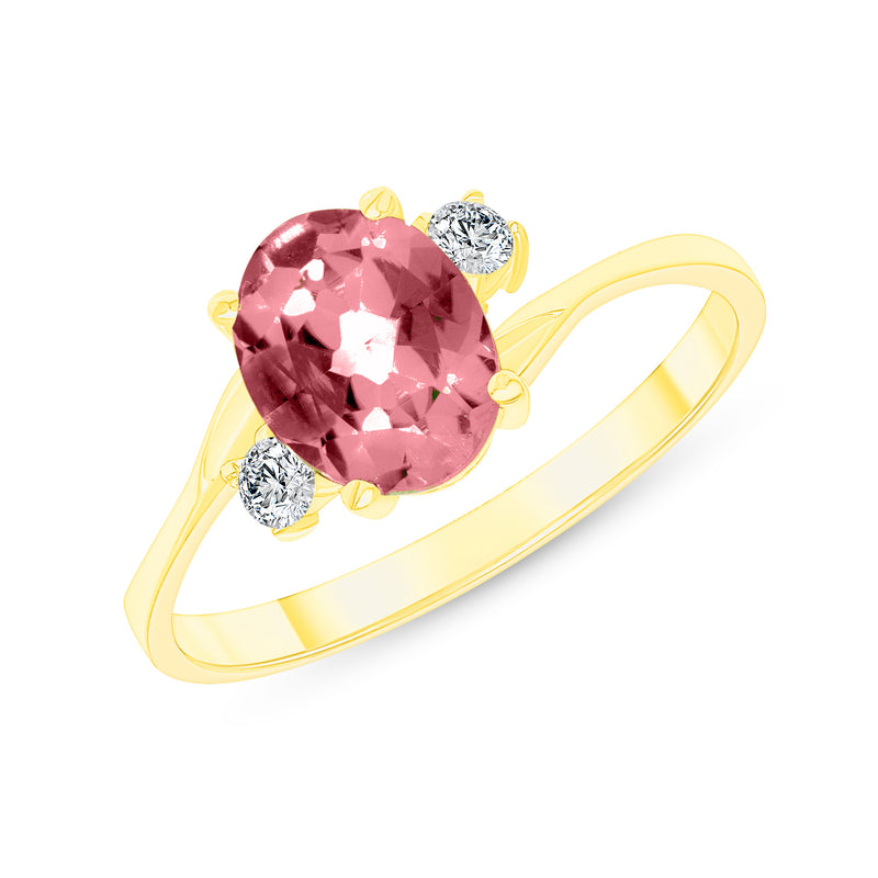 Oval Genuine Garnet Gemstone Ring In Yellow Gold