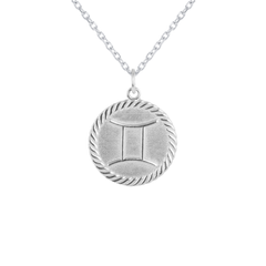 Reversible Gemini Zodiac Sign Charm Coin Pendant Necklace in Sterling Silver