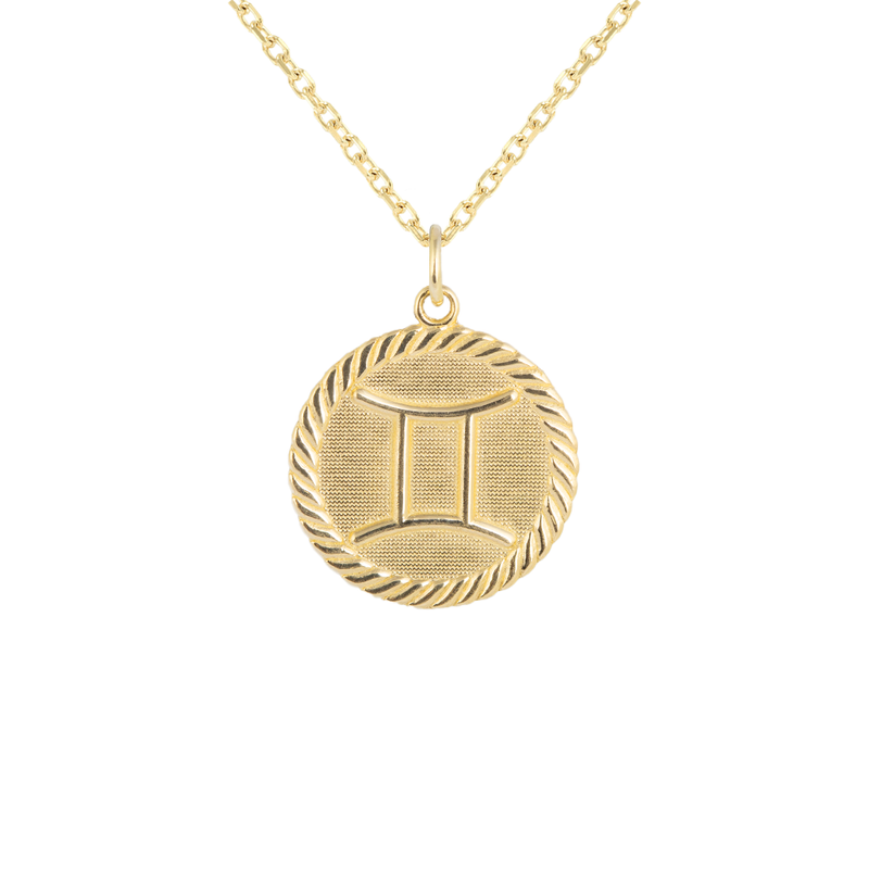 Reversible Gemini Zodiac Sign Charm Coin Pendant Necklace in Solid Gold