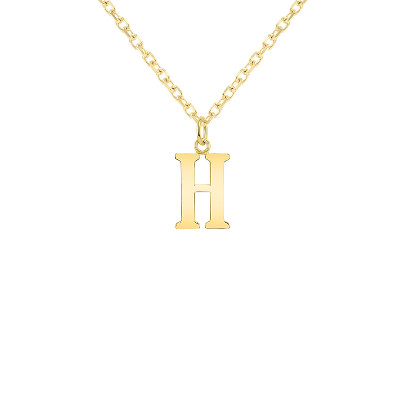"Customizable Initial ""H"" Pendant Necklace in Solid Gold"