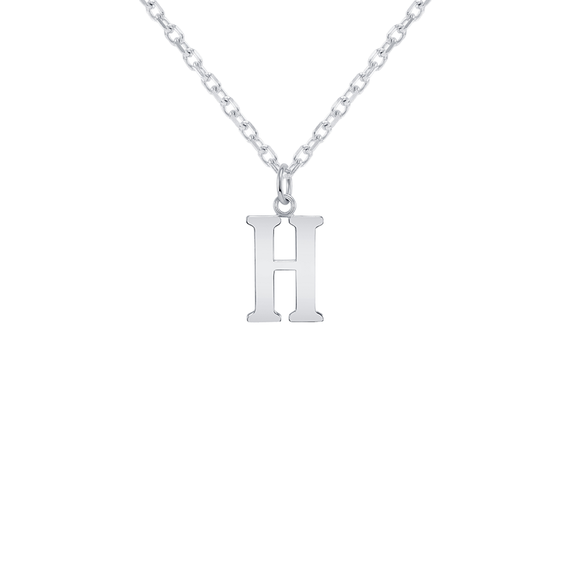 "Customizable Initial ""H"" Pendant Necklace in Sterling Silver"