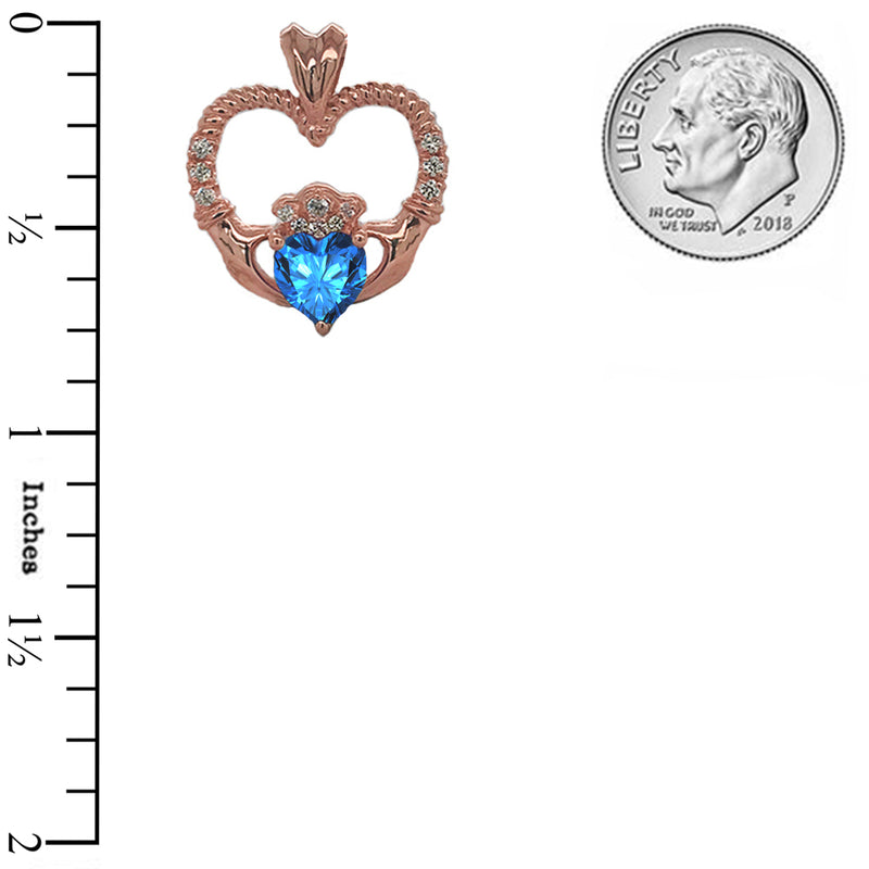 Claddagh Heart Diamond & Genuine Blue Topaz Rope Pendant/Necklace in Solid Gold