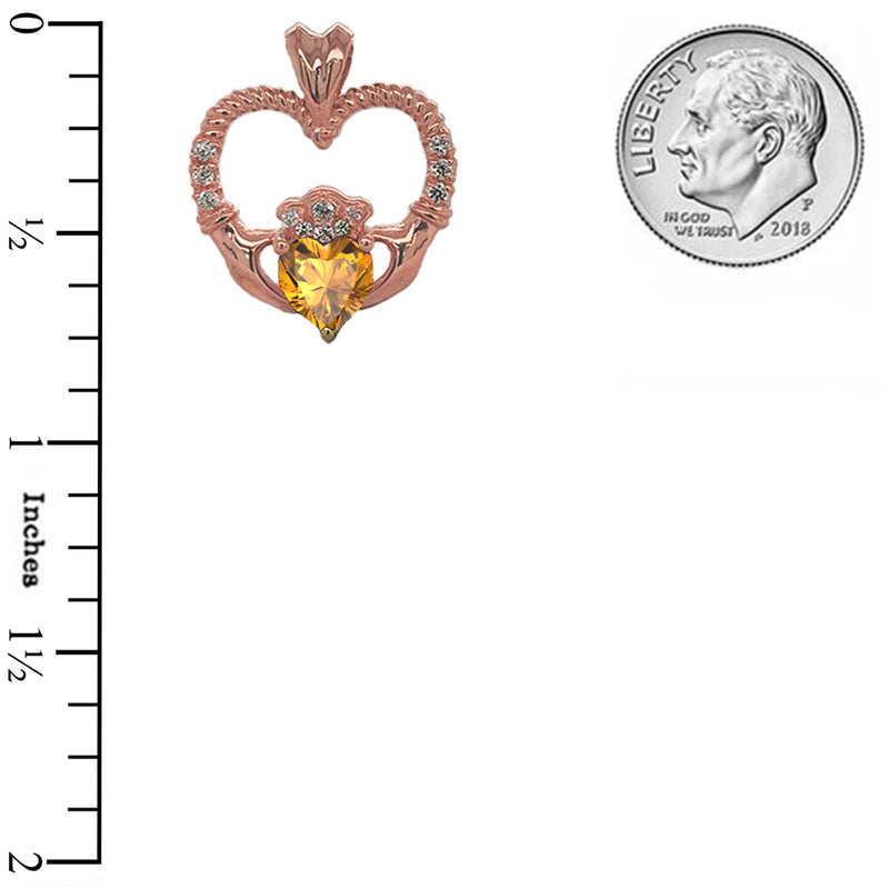 Claddagh Heart Diamond & Genuine Citrine Rope Pendant/Necklace in Solid Gold