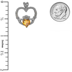 Claddagh Heart Diamond & Genuine Citrine Rope Pendant Necklace in Sterling Silver