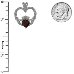 Claddagh Heart Diamond & Genuine Garnet Rope Pendant/Necklace in Sold Gold