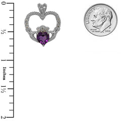 Claddagh Heart Diamond & Amethyst Stone Rope Pendant/Necklace in Sterling Silver