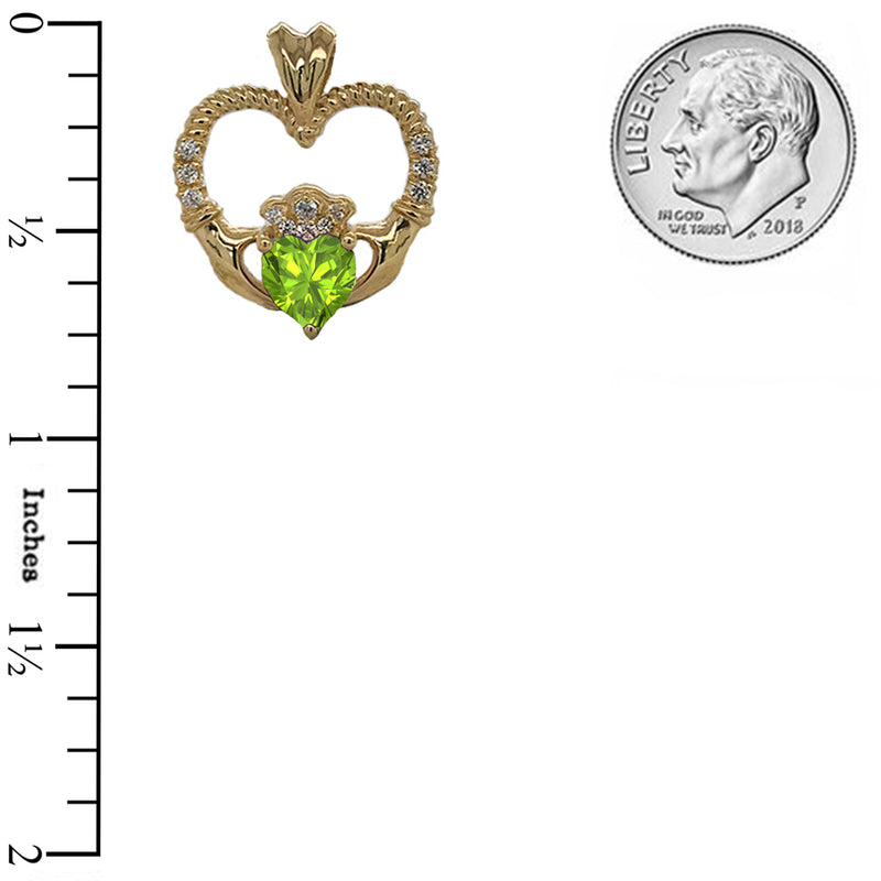 Claddagh Heart Diamond & Genuine Peridot Rope Pendant/Necklace in Sold Gold