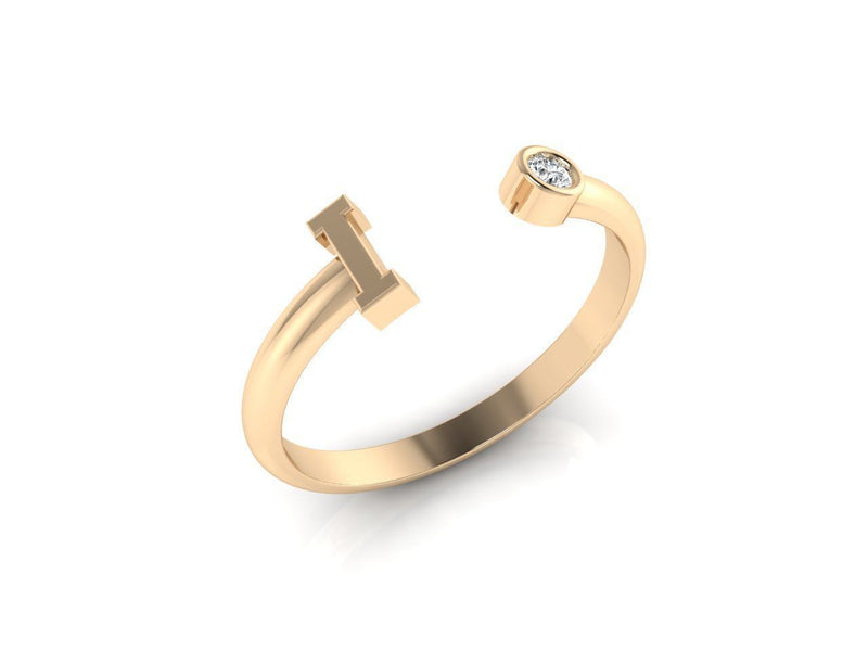 Dainty Diamond Initial 'I' Ring in Yellow Gold