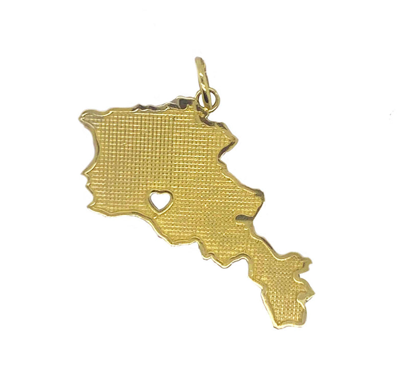 Armenia Map with Heart in 14k Yellow Gold