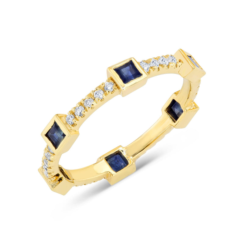 Diamond and Blue Sapphire Princess Stackable Ring in Solid Gold