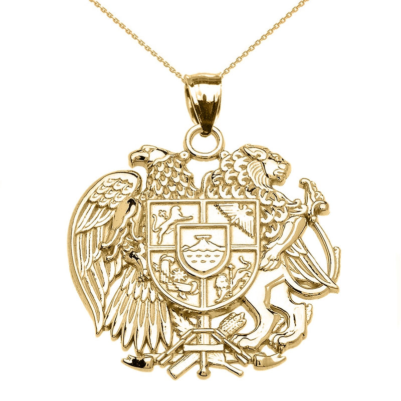 Armenian National Coat of Arms Pendant Necklace in 14k Yellow Gold (LG/SM)