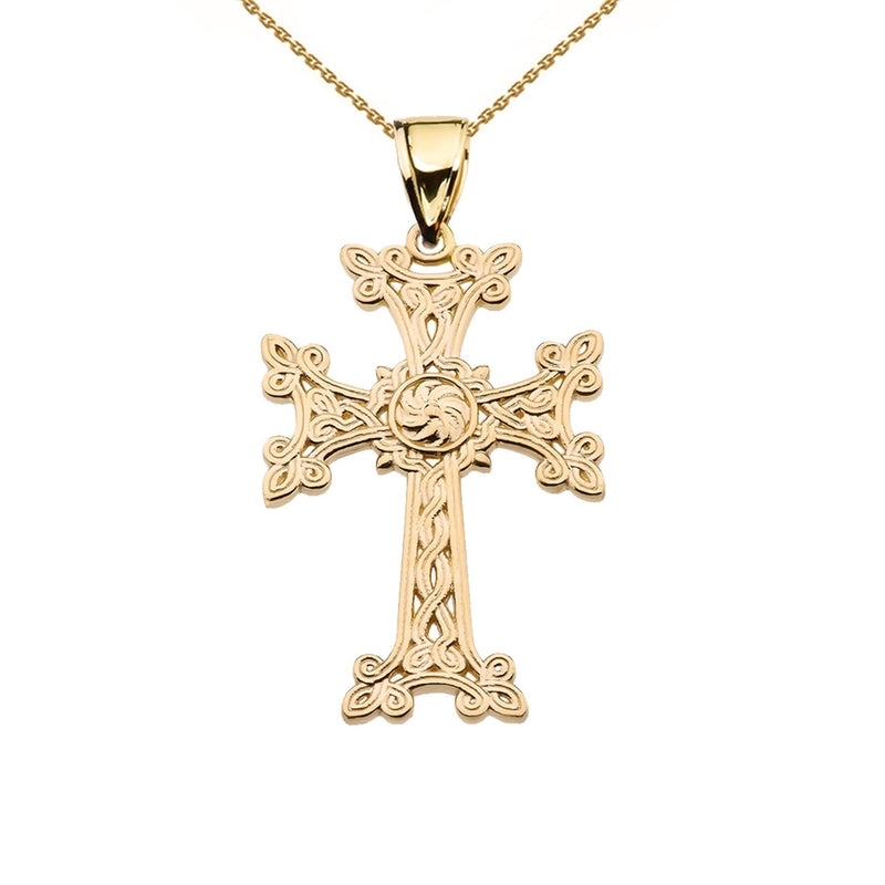 Khachkar Eternity Armenian Cross Pendant Necklace in 14k Yellow Gold