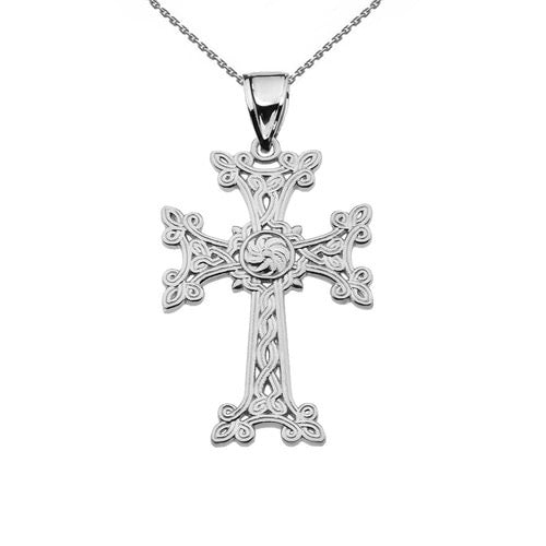 Khachkar Eternity Armenian Cross Pendant Necklace in Sterling Silver