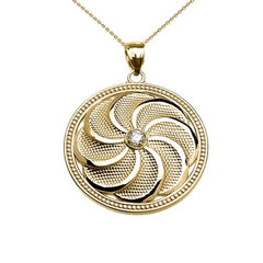 Armenian Eternity Shield Diamond Pendant Necklace in 14k Yellow Gold