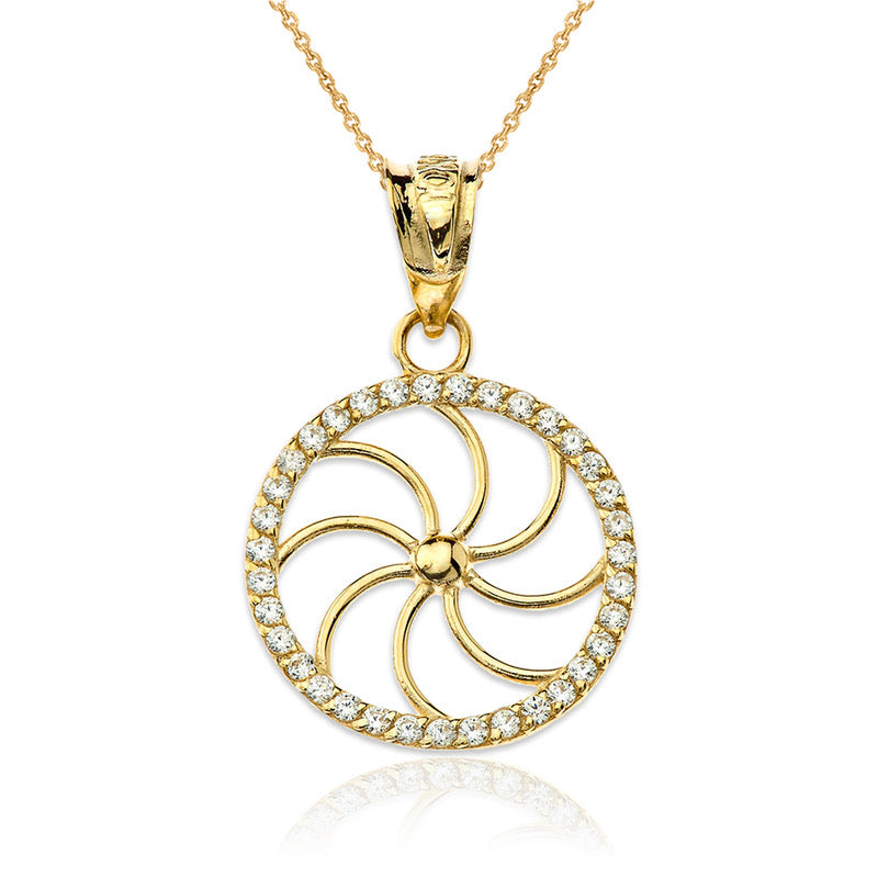 Dainty Diamond Armenian Eternity Charm Necklace in Solid Gold