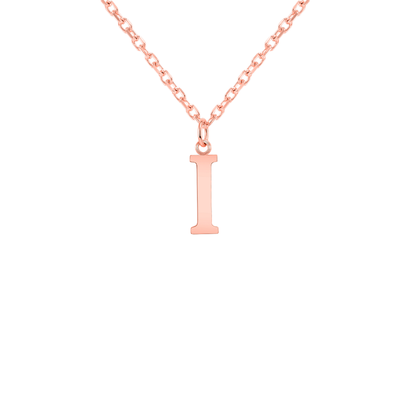 "Customizable Initial ""I"" Pendant Necklace in Solid Gold"