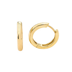 Bold High Polish Hoop Huggie Earrings in Solid Gold