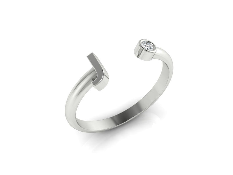 Dainty Diamond Initial 'J' Ring in White Gold