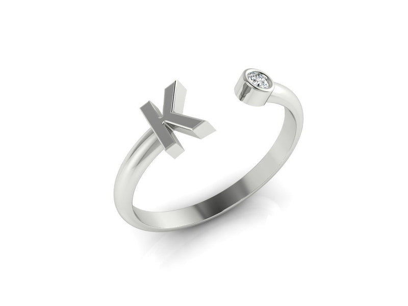 Dainty Diamond Initial 'K' Ring in White Gold