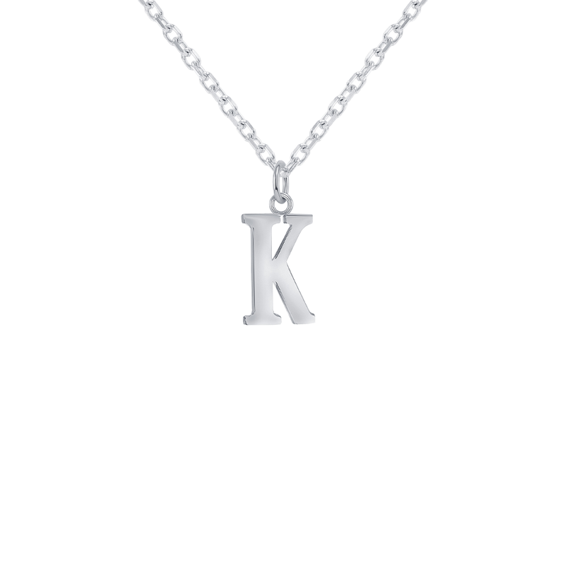 "Customizable Initial ""K"" Pendant Necklace in Sterling Silver"
