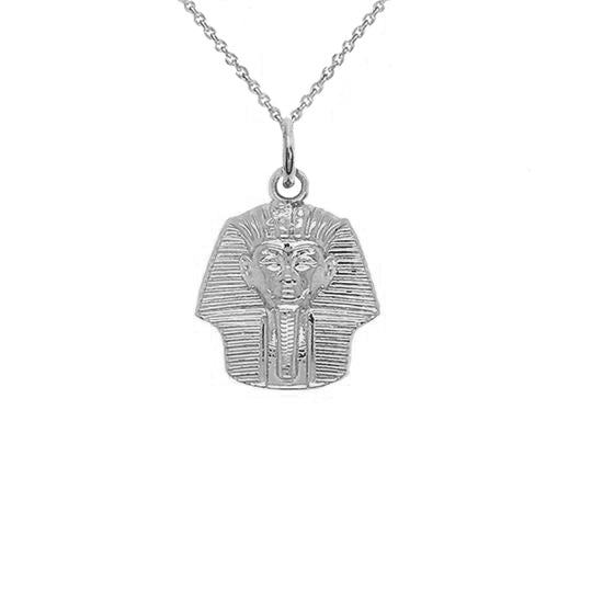 Solid King Tut Pharaoh Pendant Necklace in Sterling Silver