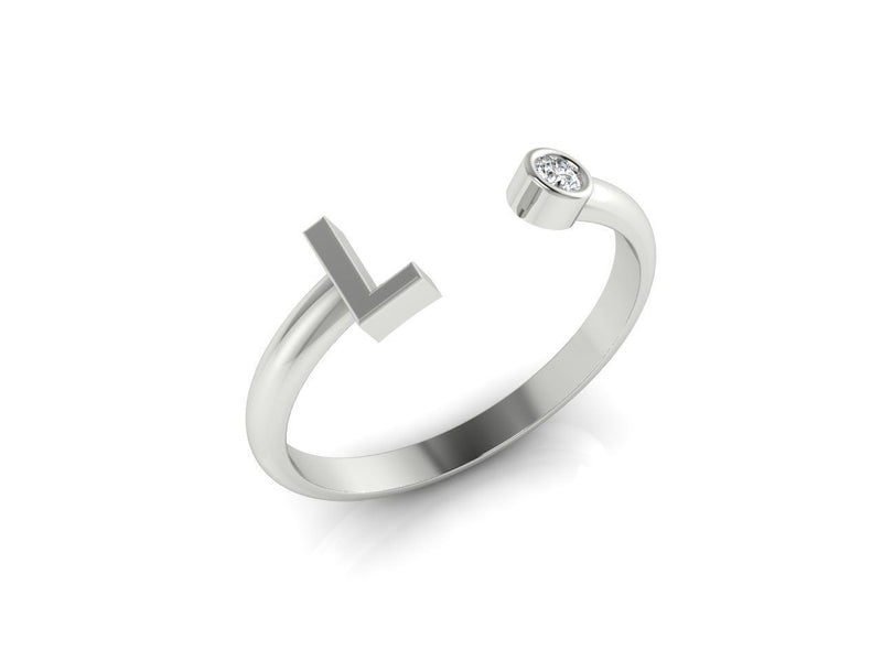 Dainty Diamond Initial 'L' Ring in White Gold
