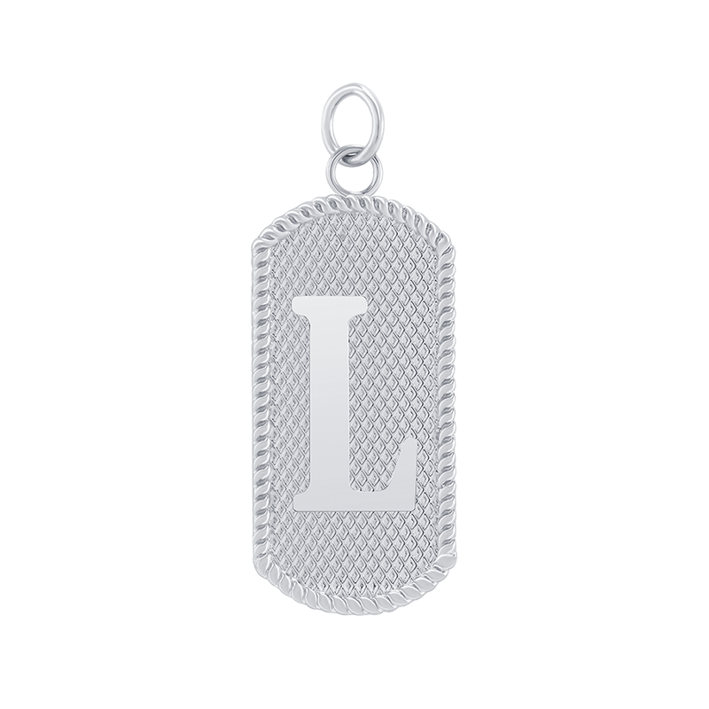"Customizable Dog Tag Initial ""L"" Necklace/Pendant in Sterling Silver"