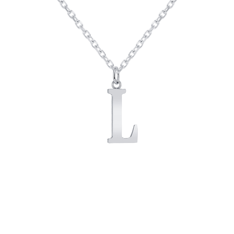 "Customizable Initial ""L"" Pendant Necklace in Sterling Silver"