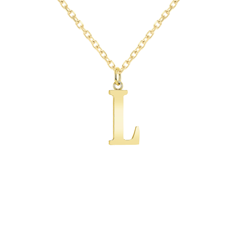 "Customizable Initial ""L"" Pendant Necklace in Solid Gold"