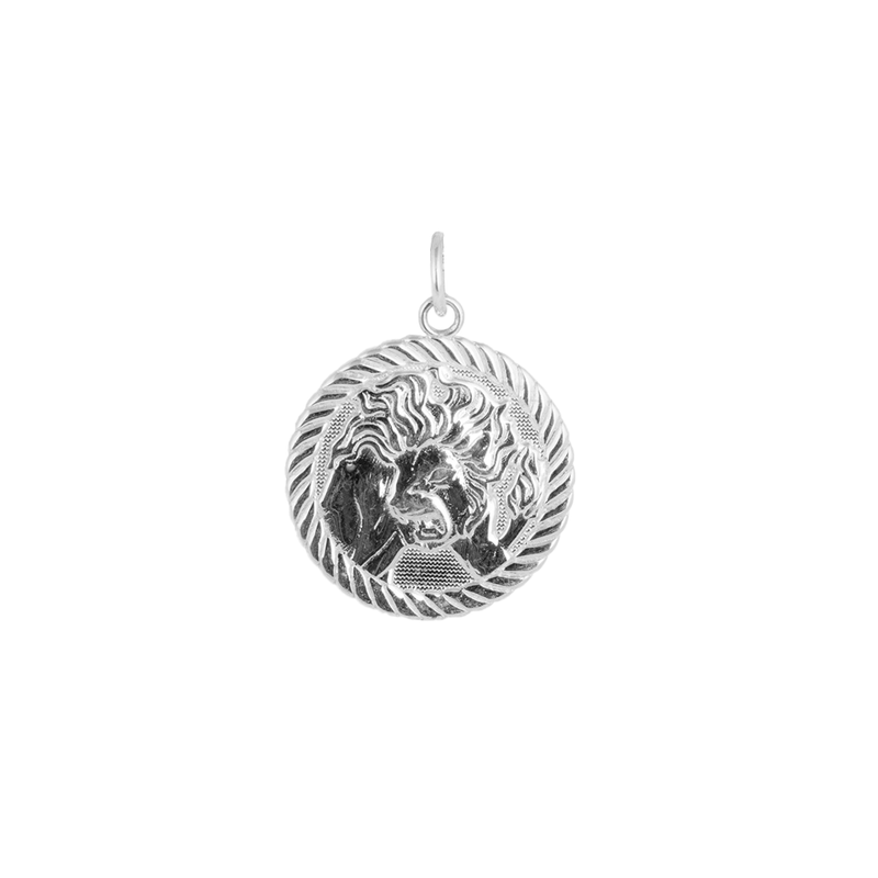 Reversible Leo Zodiac Sign Charm Coin Pendant Necklace in Sterling Silver