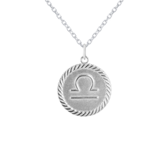 Reversible Libra Zodiac Sign Charm Coin Pendant Necklace in Sterling Silver