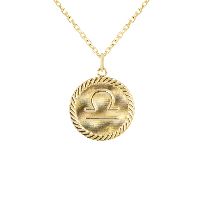 Reversible Libra Zodiac Sign Charm Coin Pendant Necklace in Solid Gold