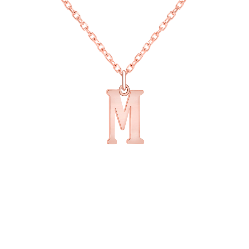 "Customizable Initial ""M"" Pendant Necklace in Solid Gold"
