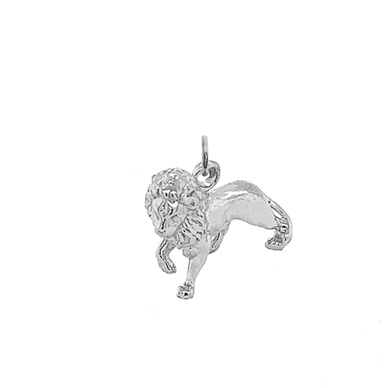 5D Sterling Silver Full Body Lion Charm Pendant/Necklace