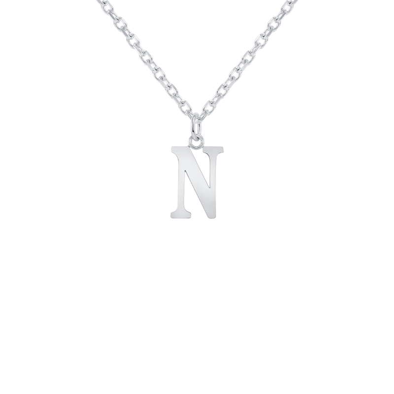 "Customizable Initial ""N"" Pendant Necklace in Solid Gold"