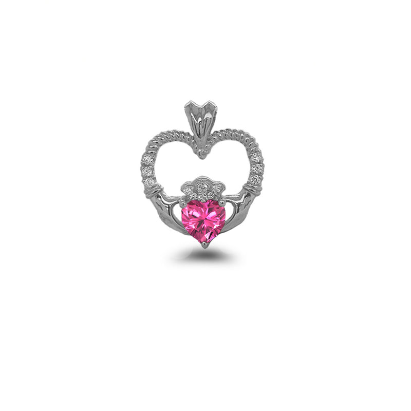 Claddagh Heart Diamond & October Birthstone Pink CZ Rope Pendant/Necklace in Sterling Silver