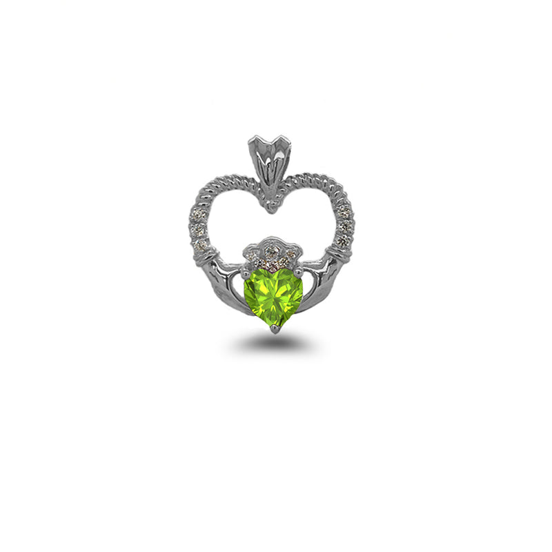 Claddagh Heart Diamond & Genuine Peridot Rope Pendant/Necklace in Sterling Silver