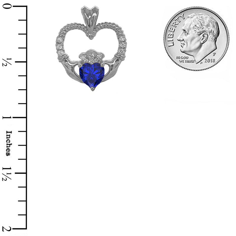 Claddagh Heart Diamond & September Birthstone Blue CZ Rope Pendant/Necklace in Sterling Silver