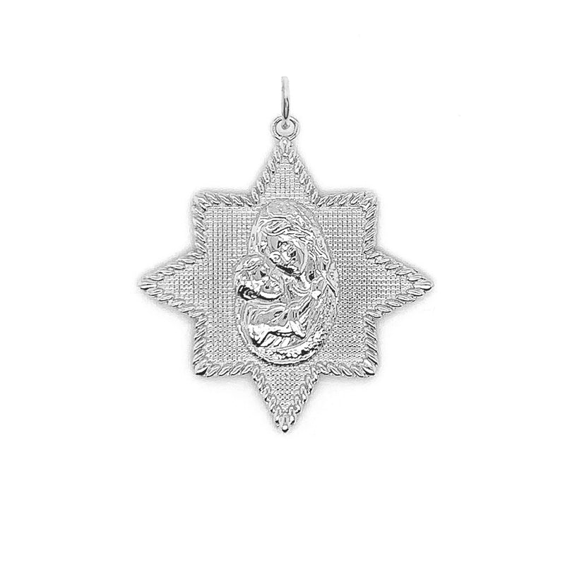 Virgin Mary and Jesus Star Pendant Necklace in Sterling Silver