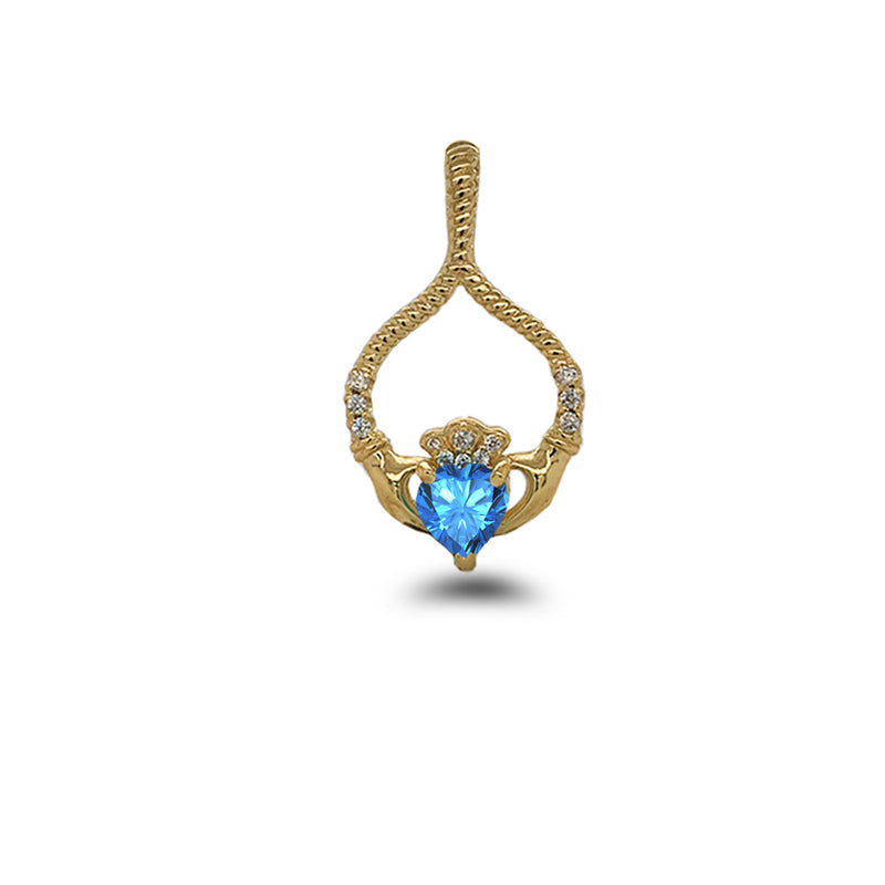 Claddagh Diamond & Blue Topaz Rope Design Pendant/Necklace in Solid Gold
