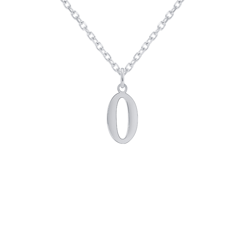 "Customizable Initial ""O"" Pendant Necklace in Sterling Silver"
