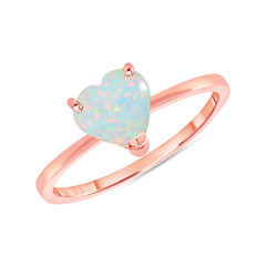 Heart Shape Solitaire Lab Created Opal Gemstone Birthstone Ring in Rose Gold