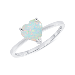 Heart Shape Solitaire Lab Created Opal Gemstone Birthstone Ring in Sterling Silver