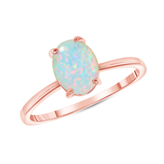 Oval Solitaire Lab Created Opal Gemstone Birthstone Ring in Rose Gold