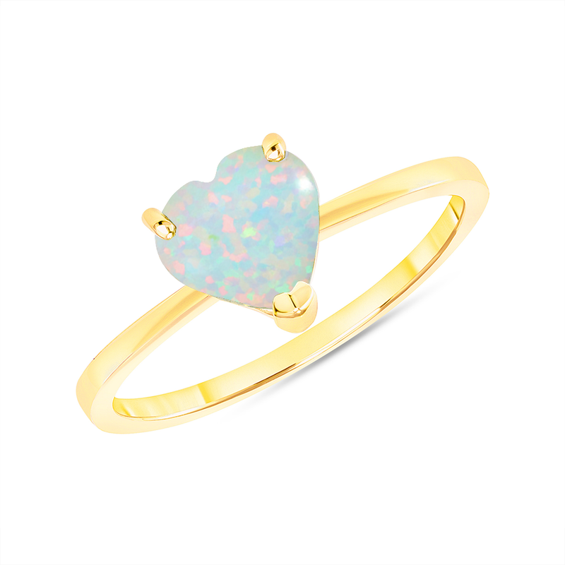 Heart Shape Solitaire Lab Created Opal Gemstone Birthstone Ring in Yellow Gold