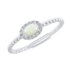 Diamond and Genuine Opal Gemstone Birthstone Ring in White Gold