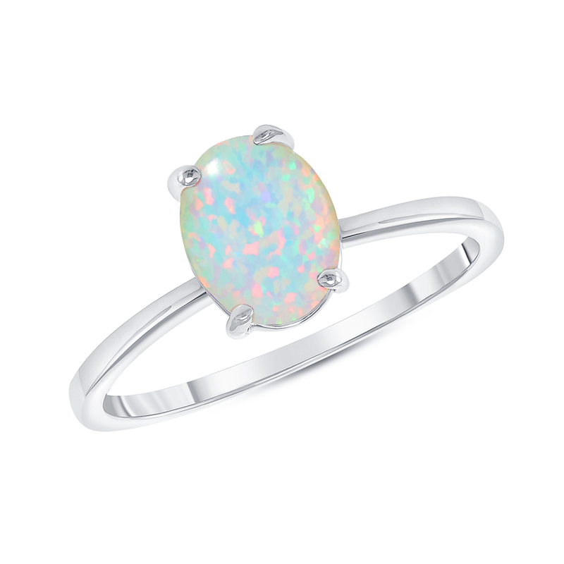 Oval Solitaire Lab Created Opal Gemstone Birthstone Ring in Sterling Silver